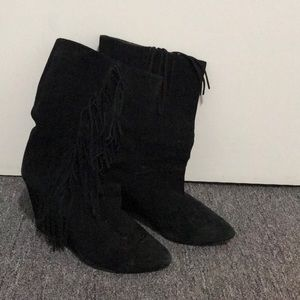 Joie suede wedge boots with fringes